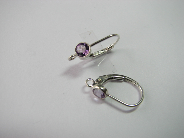 17 S. S. Lever Back with Stone <br>(Citrine/Amethyst/White Topaz